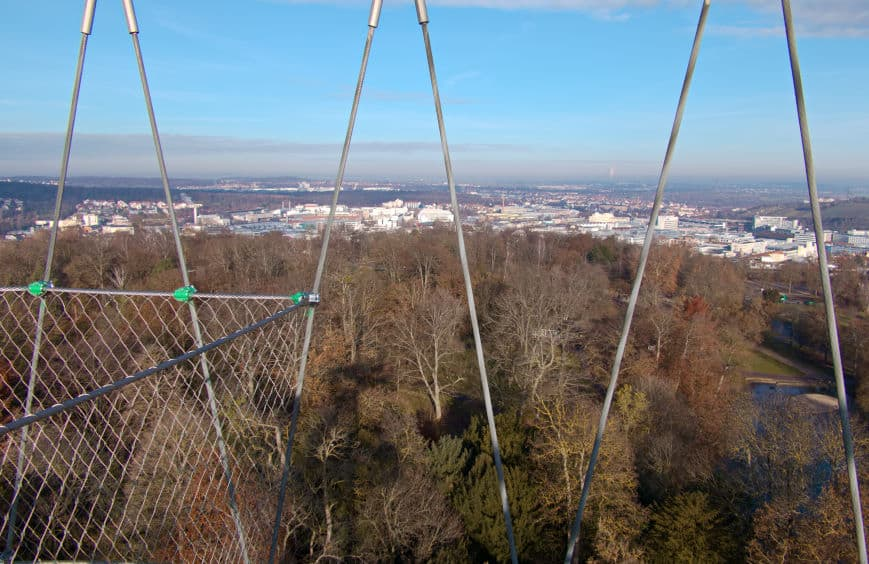 Grünes U in Stuttgart - Fernblick vom Killesbergturm in Höhenpark