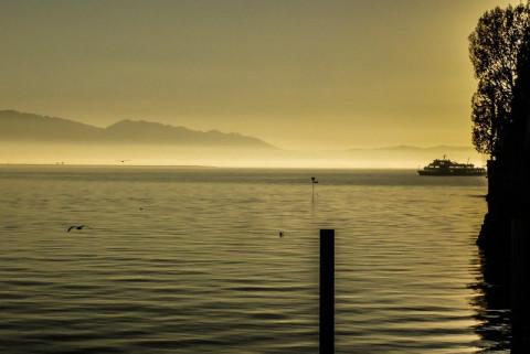 Traumhaft: Sonnenuntergang am Hafen in Lindau am Bodensee