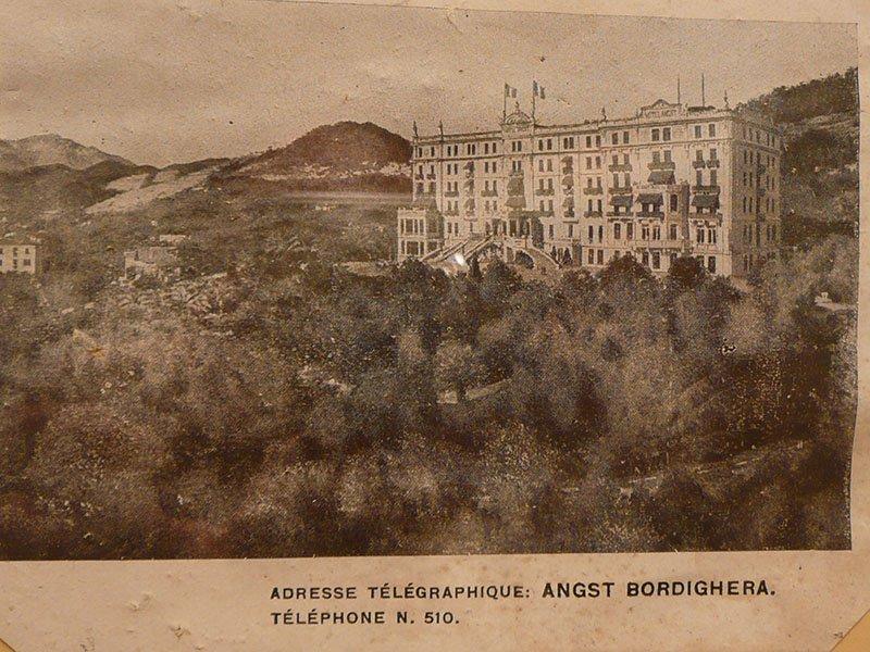 Hotel Angst in Bordighera - historische Karte mit Telefon