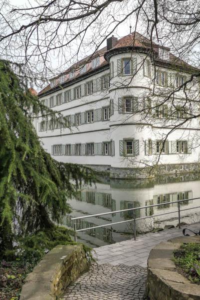 Das-Wasserschloss-in-Bad-Rappenau-Sehenswürdigkeit-Diagonalperspektive-mit-Weg