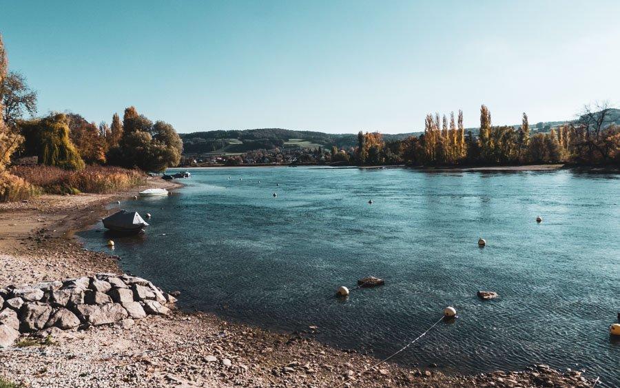 Wanderung Öhningen Wangen bis Stein am Rhein - Der Rhein auf Höhe der Insel Werd