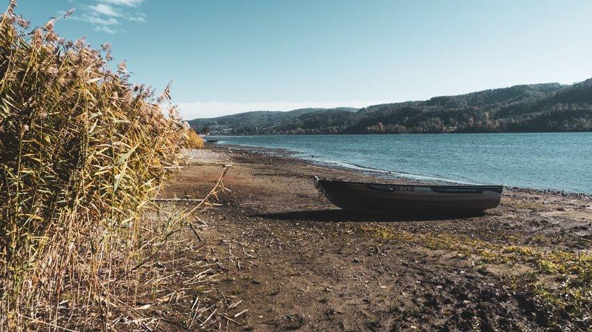 Wanderung - Öhningen Wangen nach Stein am Rhein - Uferidylle am Bodensee mit Ruderboot