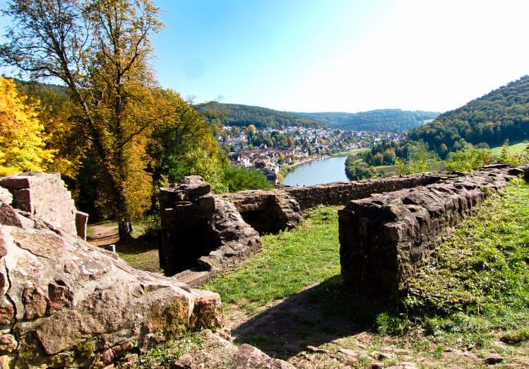 Vier-Burgen-Tour-Neckarsteinach-die-Hinterburg-mit-Blick-auf-den-Neckar