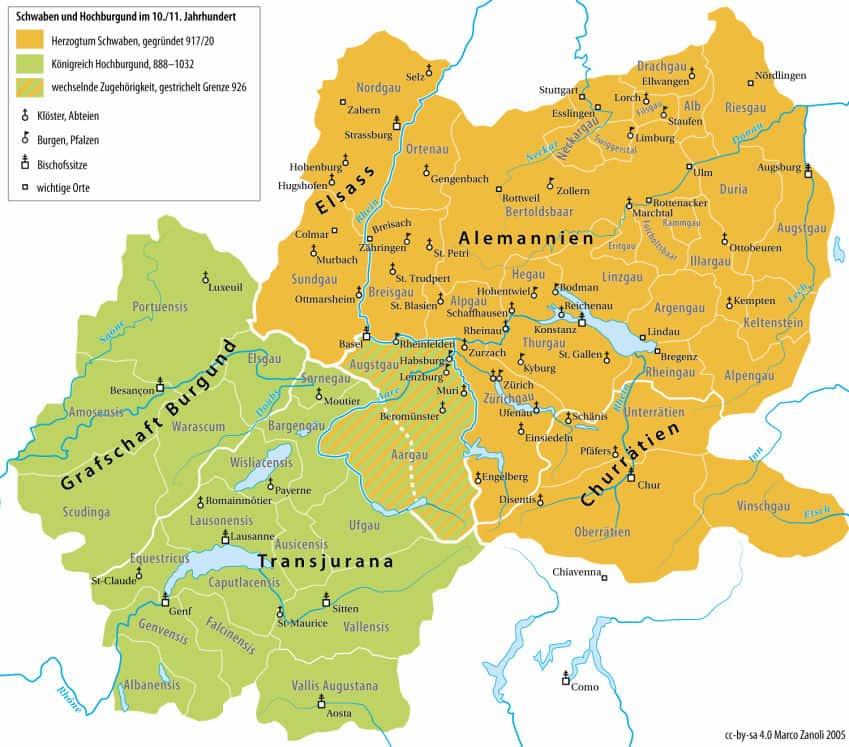 Alamannien Hochburgund und das Hegau ca 1000