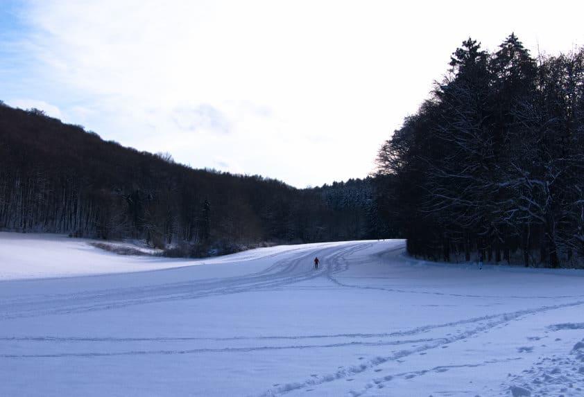 Schopflocher Moor - die glückliche Einsamkeit eines Skilangläufers